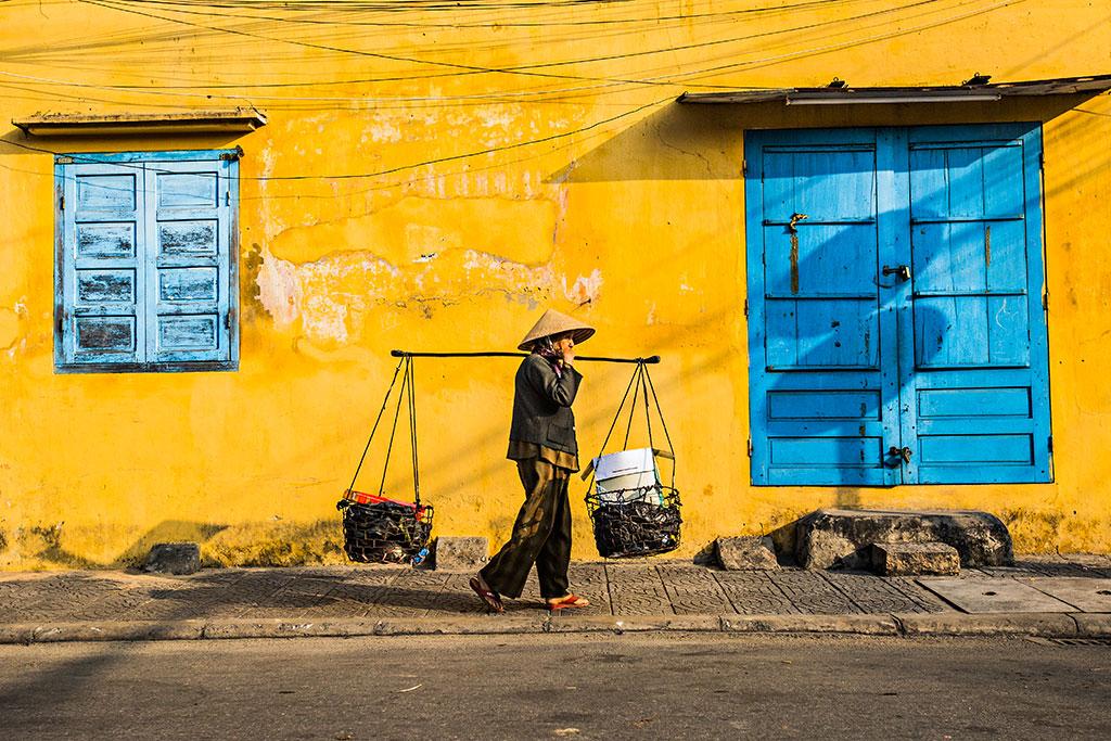 Blue Windows photo by Réhahn in yellow city Hoi An Vietnam