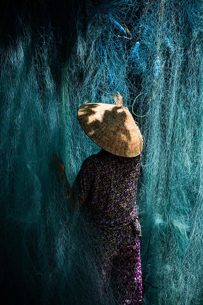 women with fishing net